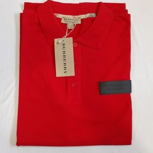 BURBERRY LONDON MENS RED COTTON BASIC POLO SHIRT